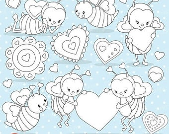 80% OFF SALE Valentine bee digital stamp commercial use, vector graphics, digital stamp, digital images - DS696
