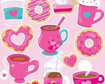 80% OFF SALE valentine drinks clipart commercial use,  coffee vector graphics,  love coffee digital clip art, digital images  - CL1057
