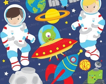 80% OFF SALE Astronaut in space clipart commercial use, vector graphics, digital clip art, digital images  - CL579