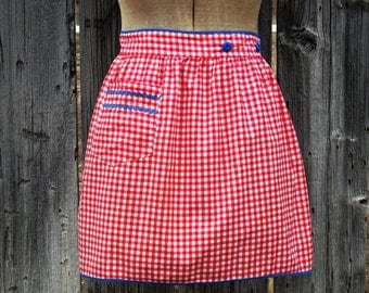 Red Gingham Apron Vintage Half Apron Red with Blue Trim