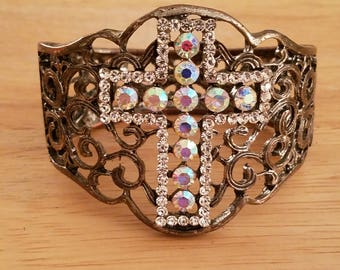 Gorgeous Vintage Brass Color Metal Intricate Filigree Victorian Style Aurora Borealis Rhinestones Cross Clamper Bracelet