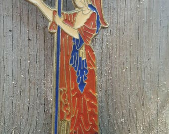 Athena Goddess of Wisdom with Spear and Owl Perched on Hand Brass and Enamel Tabletop Statuette Greek Mythology Gift Token Keepsake