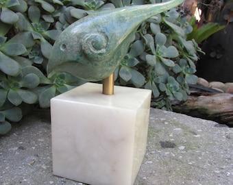 Modernist Marble Bird sculpture on Onyx Base table top sculpture