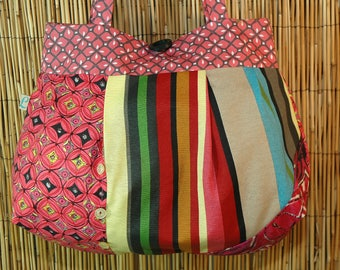 Fabric Patchwork Collection Lamia shoulder tote bag