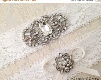SUMMER SALE Bridal garter, Ivory Lace Wedding Garter Set, Bridal garter Set, Art Deco Rhinestone Garter, Ivory Garter Set, Crystal Garter