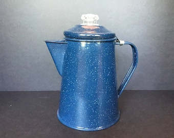 Blue Enamel Percolator