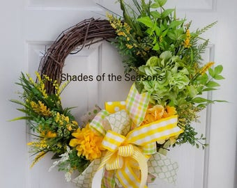 Spring Grapevine Wreath, Summer Grapevine Wreath, Grapevine Wreath, Spring Floral Wreath, Mother's Day Wreath ,  Spring Decor, Summer Wreath