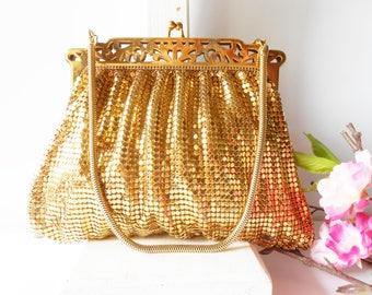 1950's Gold Evening Bag, Whiting & Davis, Gold Mesh Bag, Gold Mesh Handbag, Vintage Gold Purse, Designer Bag EB-0599