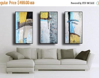 ON SALE Set of 3 Original Abstract Acrylic Painting Extra Large TRIPTYCH Black Gray Mustard Yellow White Brown Mocca Blue Unstretched Auxxl7