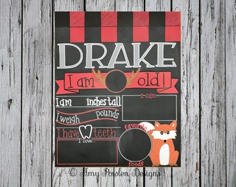 Reusable monthly baby milestone chalkboard/Personalized Photo prop/Woodland lumberjack plaid