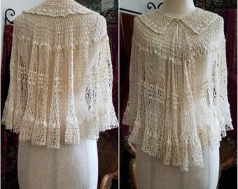 Ivory Wedding Antique crochet capelet shawl cape vintage 1910 1910s 1920 1920s sweet victorian Mori girl bohemian simple wedding dress