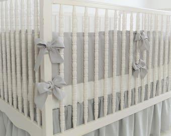 Gray Linen Crib  bedding - 4 side bumper - boy crib bedding, gender neutral crib bedding