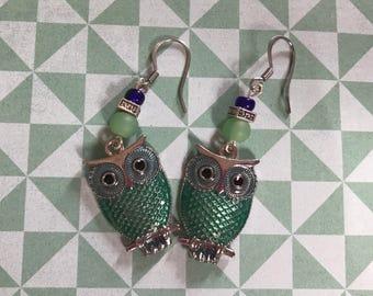 green owl earrings *nickel free