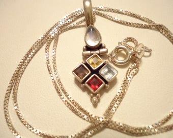 Vintage Multi-Gemstone Sterling Necklace Articulated