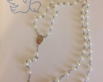 Handcrafted Virgin Mary Pearl Rosary Beads