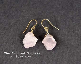 Rose Quartz Earring // Heart Chakra // Raw Rose Quartz // Crystal Earring // Rough Rose Quartz // Healing Crystal // Pink Quartz //