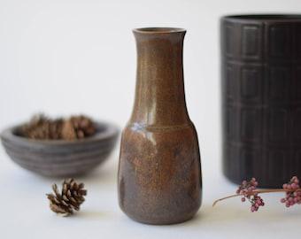 Fantastic Glaze! Vintage L Hjorth Denmark  - Vase - Brown - Danish midcentury Studio pottery