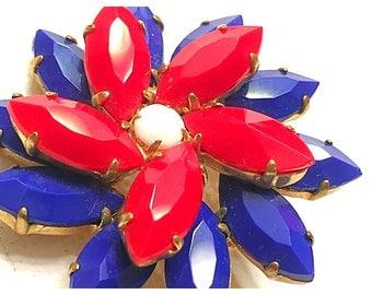 Vintage Patriotic Brooch Pin, Red, White, Blue Flower Pin, Red, White, & Blue Brooch Pin