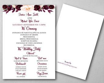 Ceremony Program- Burgundy, Plum, wine, merlot, floral, Wedding, wedding program, wedding ceremony, diy, fall wedding