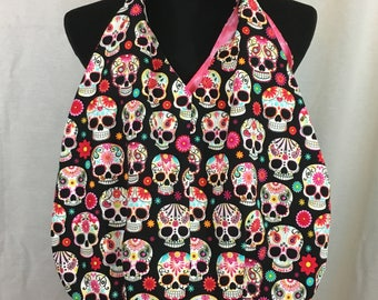 Day of the dead tote bag, skull tote, skull beach bag, skull shoulder bag, sugar skull cloth bag
