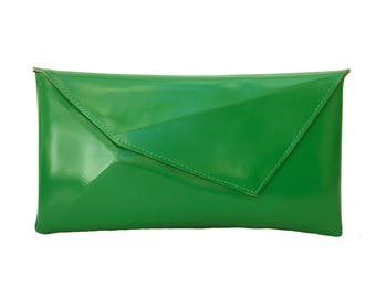 On sale - Clutch purse / vegan clutch bag / goreous green evening handbag / special occassion bag / completely ethical accessory / has to be