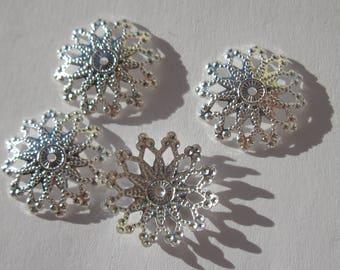 4 round metal filigree caps silver color (2054)