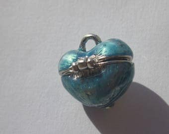 Pendant heart box working blue toned 1.7 cm high (6185)