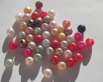 50 PC wood beads in mixed colors acrylic 6 mm (1 Pearl)