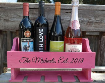 Personalized Wine Rack, Engraved, Customize With Any Text, Wall Mount, Holds 3-4 Bottles and 4 Glasses, Reclaimed Pallet Wood, Pink