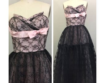 Vintage 50s Black Lace w/ Pink Bow Strapless Tulle Ballgown Wedding Party Dress S