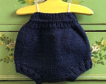 Hand Knit Wool Soaker Cloth Diaper Nappy Cover by Llamajama Navy Blue