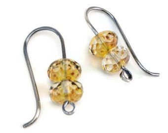 Sterling Silver-filled champagne Czech Glass earrings