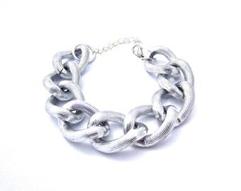 Oversize Textured Silver Chunky Chain Bracelet Stackable Sets Available