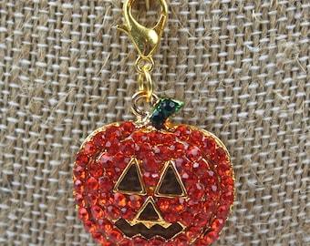 Planner Charm - Rhinestone Halloween Jack o Lantern Planner Jewelry, Accessories