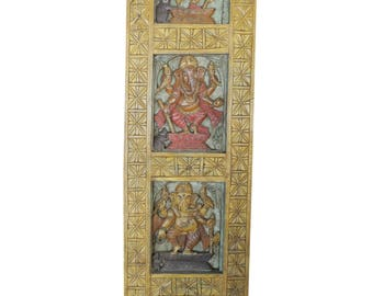Wall Hanging Vintage Hand Carved Ganapati Four Posture, Living room Bohemian Decor FREE SHIP Early Black Friday