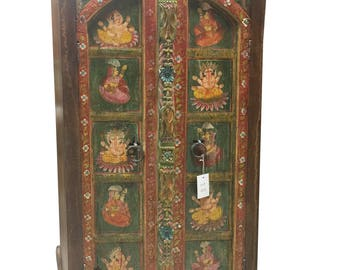 Antique Armoire Ganesha Hand Painted Bohemian Cabinet Hand carved Indian Decor FREE SHIP Early Black Friday