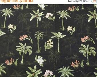 MAKERSALE Waverly Black Hawaiian Kauai Palm Trees Floral Decorator Fabric 55x41