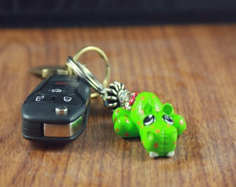 Deluxe Stitch-Itz Green Hippo Keychain With Sparkly Beads