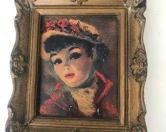 Vintage Portrait Lithograph of 1900 Woman
