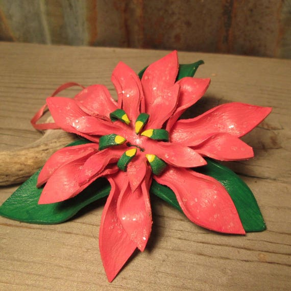 Pink Leather Poinsettia Christmas Ornament
