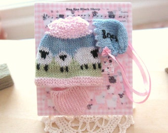 dollhouse baby doll clothes sheep knitted 12th scale miniature dress bonnet pants set nursery shop