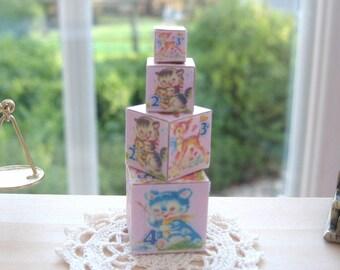 dollhouse toy wooden building blocks x 4  nursery shop doll   12th scale