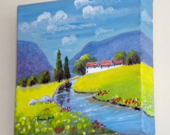 Original, Acrylic Painting, on Box Canvas, Hillside Cottage, with stream, 20cm x 20cm, Gift Idea, Art and collectibles