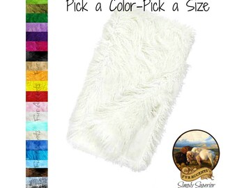 Plush Faux Fur Throw Blanket, Bedspread - Luxury Fur - Pick a color Pick a Size - Shag  - Minky Cuddle Fur Lining - Fur Accents USA