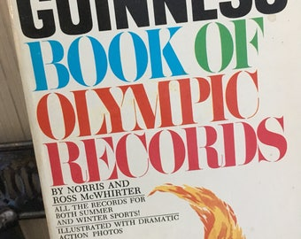 Guinness book of Olympic records, vintage book, olympics, 1972, guiness recods