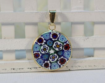 18mm Murano Millefiori Pendant 24K Italian Gold Plated Sterling Silver - BRWG&