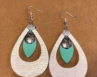 Shimmer white leather earrings.  Cutout teardrop.  A drop of Spring from the mint green.