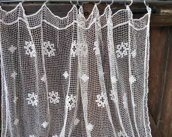 Antique Net Curtain French Filet Large Off White Curtain Handmade Cotton Lace Panel Fringed #sophieladydeparis