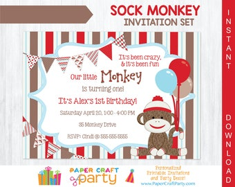 Sock Monkey Invitation | INSTANT DOWNLOAD & Edit in Adobe Reader | Printable Invite | Paper Craft Party