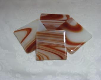 Godiva 4X4 Fused Glass Coasters - Set of 4